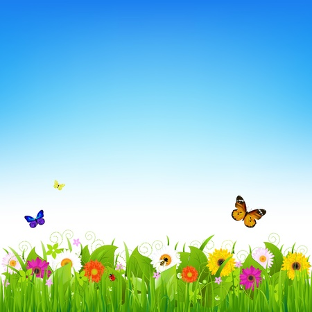 bee garden: Nature Landscape, Vector Illustration   Illustration