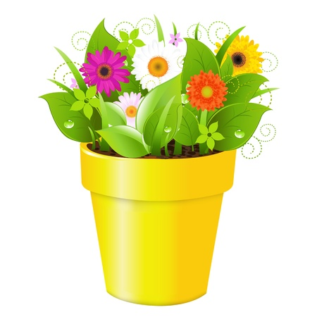 budding: Pot With Grass And Flowers, Isolated On White Background, Vector Illustration