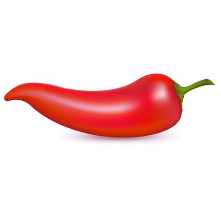 Red Hot Chili Pepper, Isolated On White Background, Vector Illustration Illustration