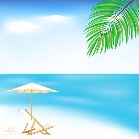 Sea And Beach, Vector Illustration Illustration