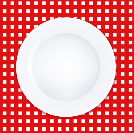 White Plate On Checkered Tablecloth, Vector Illustration Vector