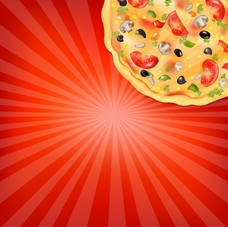 pizza dough: Pizza Poster, Vector Illustration