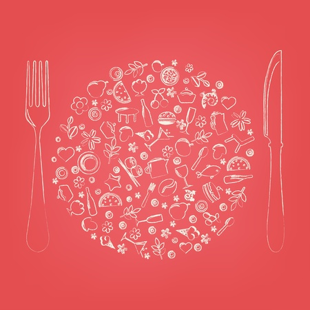 cooking icon: Restaurant Icons In Form Of Sphere Illustration