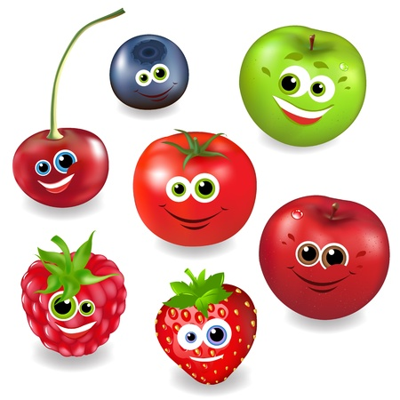 Collection Cartoon Fruit And Berries, Isolated On White Background, Vector Illustration Vector