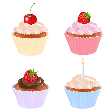 raspberry pink: 4 Cupcake, Isolated On White Background, Vector Illustration