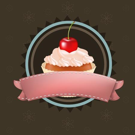 buttercream: Cupcake con sentori di ciliegia, Illustrazione Vettoriale