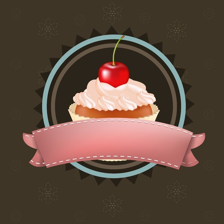 buttercream: Cupcake With Cherry, Vector Illustration