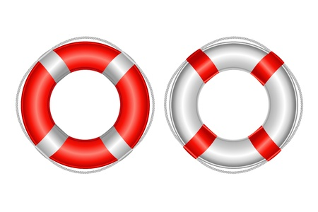 rubber ring: 2 Life Buoy, Isolated On White Background, Vector Illustration