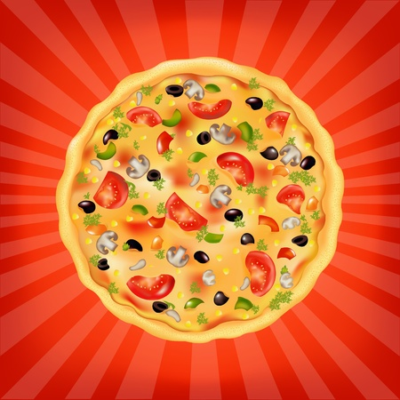 Pizza Poster, Vector Illustration Stock Vector - 10485876