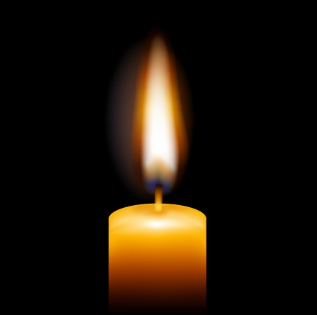 candle flame: Candle, Isolated On Black Background, Vector Illustration