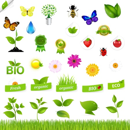 Eco Set With Nature Icons, Isolated On Black Background, Vector Illustration Stock Vector - 10514170