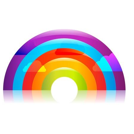 early summer: Rainbow, Isolated On Black Background, Vector Illustration