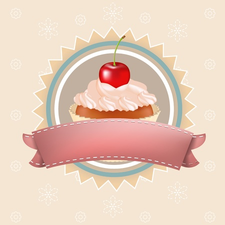 home baked: Cupcake With Cherry, Vector Illustration