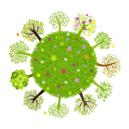 earth friendly: Eco Planet With Tree, Isolated On Black Background, Vector Illustration