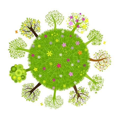 earth friendly: Planeta eco con �rbol, aislada sobre fondo negro, ilustraci�n vectorial