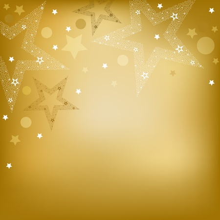 festiveness: Golden  Background With Stars, Vector Illustration