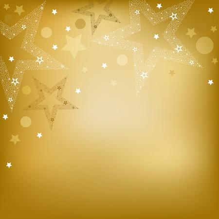 högtider: Gyllene bakgrund med stjärnor, vektor, Illustration Illustration