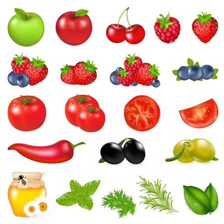 Fruits And Vegetables, Isolated On White Background, Vector Illustration Vector