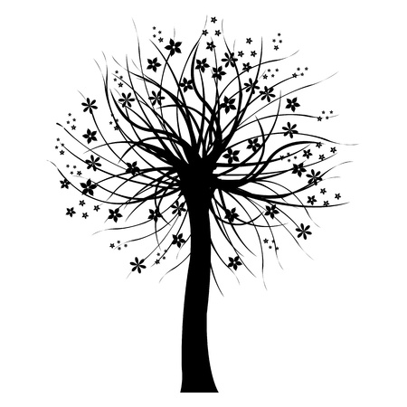 Black Tree, Isolated On White Background. Vector
