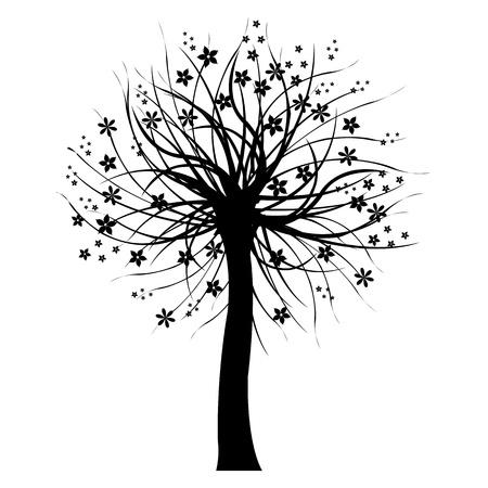 genealogical: �rbol negro, aislado en fondo blanco.