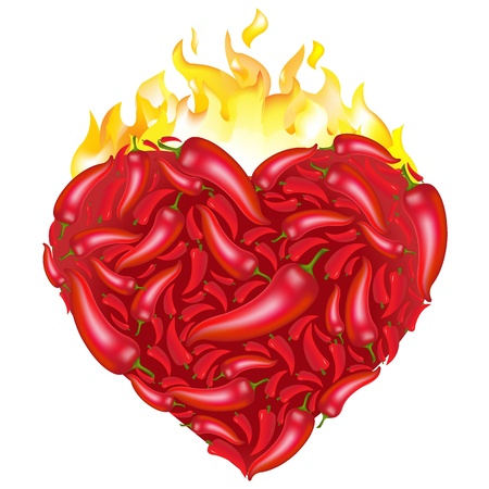 Chili Pepper Heart Shape, Isolated On White Background. Vector