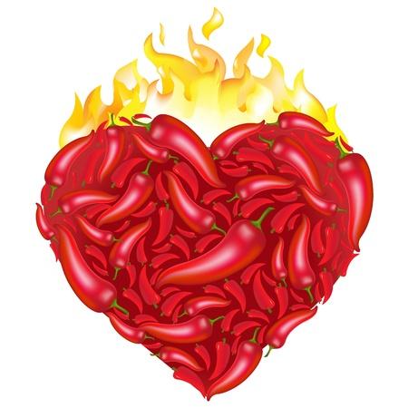 chili: Chili Pepper Heart Shape, Isolated On White Background.
