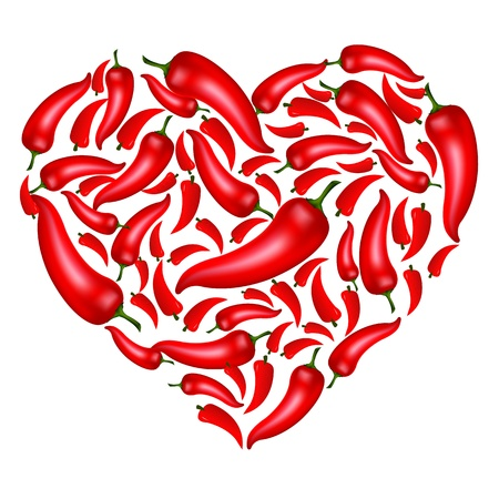 red love heart with flames: Chili Pepper en forma de coraz�n, aisladas sobre fondo blanco, ilustraci�n vectorial