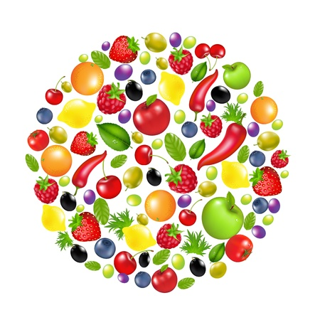 Circle From Vegetables And Fruit, Isolated On White Background, Vector Illustration Vector