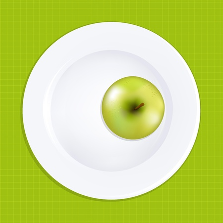 Green Apple On White Plate, Vector Illustration Vector