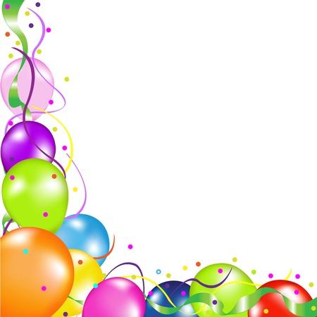 globos fiesta: Coloridos globos de fiesta, aisladas sobre fondo blanco, ilustraci�n vectorial