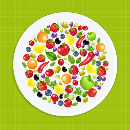White Plate With Fruit And Vegetables, Vector Illustration Vector