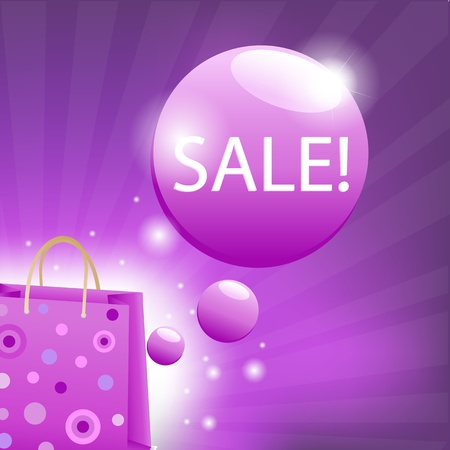 Shoping: Color Sale Poster, Vector Illustration Illustration