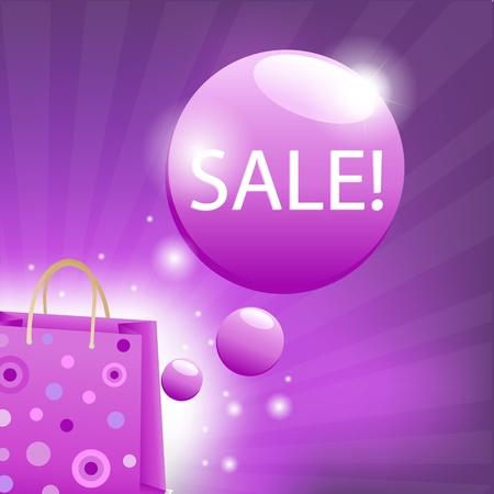 shoping bag: Color Sale Poster, Vector Illustration Illustration