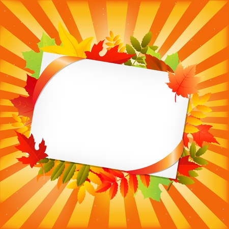 Autumn Leafs And Blank Gift Tag, Isolated On White Background, Vector Illustration Vector
