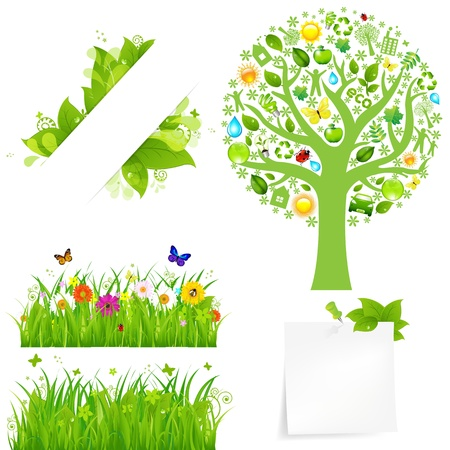 Green Grass With Flowers And Tree, Isolated On White Background, Vector Illustration Stock Vector - 10870622