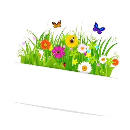 Paper Sticky With Grass And Flowers, Isolated On White Background, Vector Illustration Vector