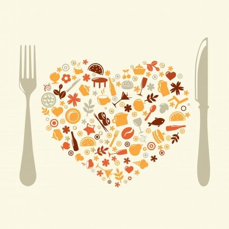 Restaurant Design In Form Of Heart. Vector
