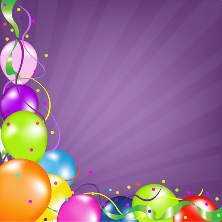 Colorful Party Balloons, With Sunburst. Vector