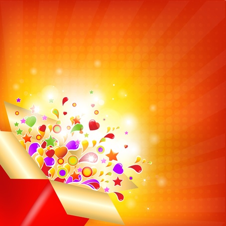 Colorful Gift Box With Sunburst. Vector