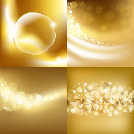 gold colour: 4 Gold Backgrounds. Illustration