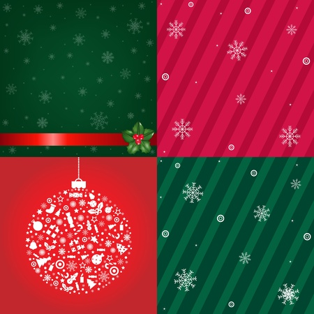 4 Christmas Backgrounds With Snowflakes, Vector Illustration Vector