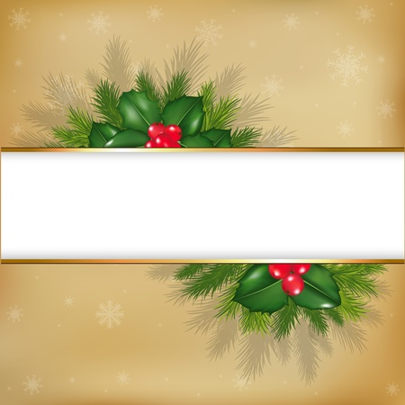 Merry Christmas Background, With Holly Berry And Fur-tree Branches, On Vintage Background, Vector Illustration Vector