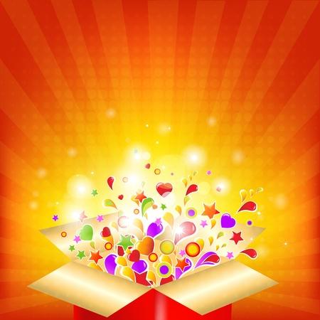 magic box: Colorful Gift Red Box, Vector Illustration