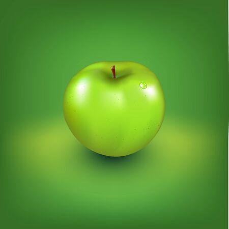 waterdrops: Fresh Green Apple, Vector Illustration