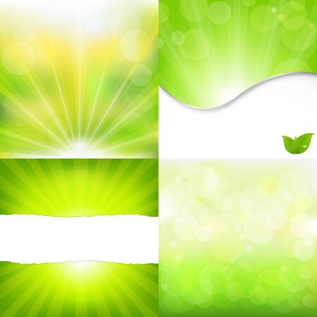 4 Green Nature Backgrounds, Vector Illustration  Vector