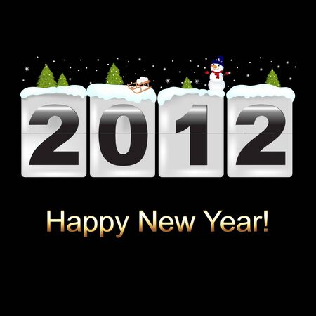 New Year Counter With Snowman, Vector Illustration Vector