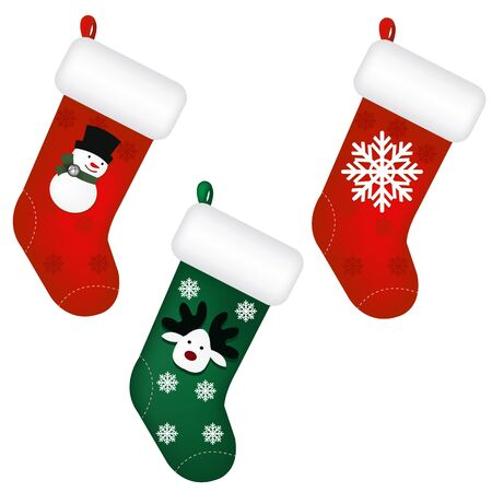 christmas sock: 3 Santas Stocking, Isolated On White Background, Vector Illustration
