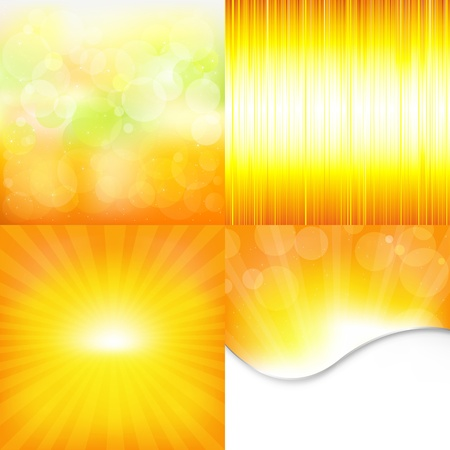 fragmentary: 4 Orange And Yellow Backgrounds, Vector Illustration