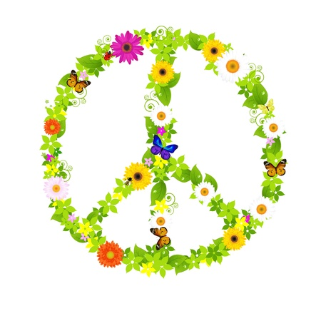 Peace Symbol, Isolated On White Background, Vector Illustration  Vector