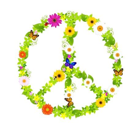anni settanta: Simbolo della pace, isolato su sfondo bianco, illustrazione vettoriale